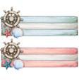 watercolor vintage banner with helm and seashell vector image