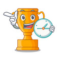 with clock cartoon trophy cup with star on cyan vector image