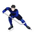 athlete with ice-hockey stick playing hockey vector image