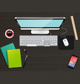business office and workspace top view background vector image