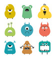 set of cartoon cute funny colorful monsters vector image