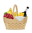 picnic basket with bottle of wine grapes a