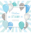 Balloons in paper cut out square frame birthday