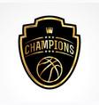 basketball champions badge emblem vector image vector image
