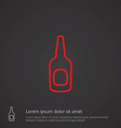 beer bottle outline symbol red on dark background vector image