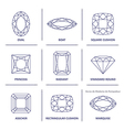 Blueprint outline jewelry gems cuts vector image vector image