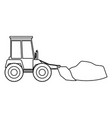 bulldozer with load in monochrome silhouette vector image