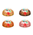 bundt cake topped with sugar glaze and easter eggs vector image