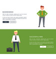 businessman and successful man vector image vector image