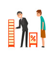 businessman character advertising products or vector image vector image