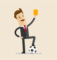 businessman with football and yellow card in hand vector image