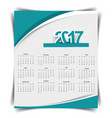 calendar for the year 2017 in flat style vector image vector image