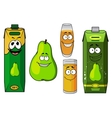 Cartoon green pear fruit and juices vector image vector image