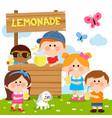 children at a lemonade stand drinking lemon juice vector image vector image
