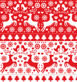Christmas seamless folk pattern with reindeer vector image