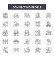 connecting people line icons signs set vector image vector image