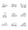construction vehicle icon set outline style vector image