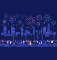 crowd people watching fireworks displaying in vector image
