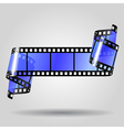 Curled blue film strip vector image vector image