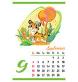 cute tiger wall calendar september template 2022 vector image