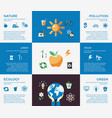 digital blue ecology icons vector image vector image