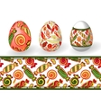 easter set isolated easter eggs and seamless vector image vector image