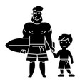 father with son on vacation with surfing board vector image