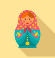 female nesting doll icon flat style vector image vector image