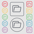 Folder icon sign symbol on the Round and square vector image vector image