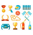 formula 1 auto sport set of racing icons color vector image vector image