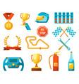 formula 1 auto sport set racing icons color vector image