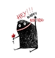 Funny Monster with Flower Happy Birthday Greeting vector image vector image