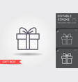 gift box line icon with shadow and editable vector image