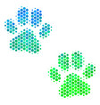 halftone blue-green paw footprints icon vector image