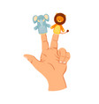 hand or finger puppets play doll on two fingers vector image