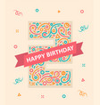 happy birthday number 2 colorful greeting card vector image