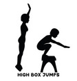 high box jumps sport exersice silhouettes of vector image