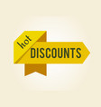 hot discounts ribbons label on vector image vector image