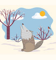 howling wolf in winter landscape forest vector image