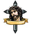 jesus christ face art design vector image vector image