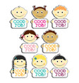 kids with good job label plates set vector image vector image