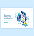language learning application online education vector image
