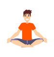 man sitting in lotus pose young man practicing vector image vector image
