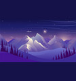 mountains and forest at night sky with clouds and vector image