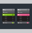 navigation menu vertical menu ui element vector image vector image