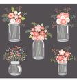 Pastel Flowers in Mason Jars