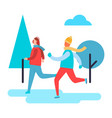 people skiing in winter park vector image