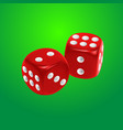 red dice on green background vector image vector image