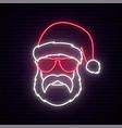 santa claus neon sign hipster man in santa vector image vector image