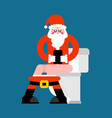 santa on toilet christmas grandfather is in wc vector image vector image
